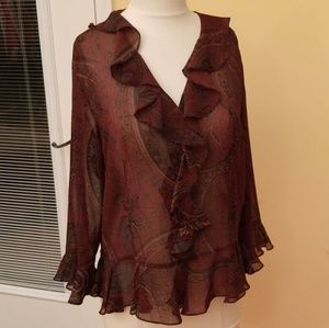 Chaps paisley sheer blouse.  Green & wine color